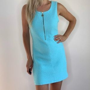 Lilly Pulitzer Teal Turquoise Zipper Front Dress L